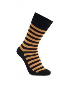 iZ Sock - Stribede bambusstrømper i sort og orange. Unisex