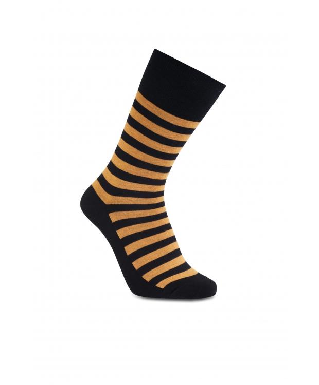 iZ Sock - Stribede bambusstrømper i sort og orange. Unisex