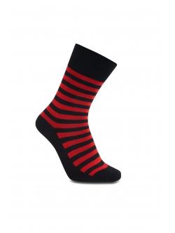 iZ Sock - Stribede bambusstrømper i sort og rød. Unisex