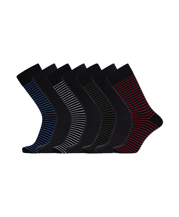 JBS 7-pak bambusstrømper i forskellige farver med striber til herre - Gaveæske