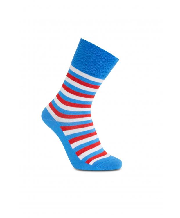 iZ Sock - Stribede bambusstrømper i blå, røde og hvide. Unisex