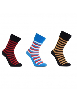 iZ Sock - 3 pak stribede bambusstrømper i (sort-orange, sort-rød, blå-rød-hvid). Unisex