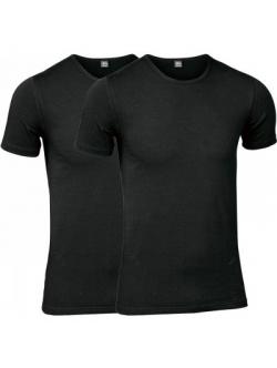 JBS 2-pak undertrøje med ærmer økologisk bomuld med rund hals i sort til herre