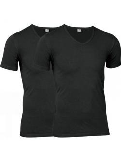 JBS 2-pak undertrøje med ærmer økologisk bomuld med V-hals i sort til herre
