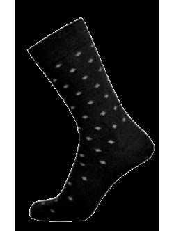 Egtved bambusstrømper i sort med firkantet mønster til herre