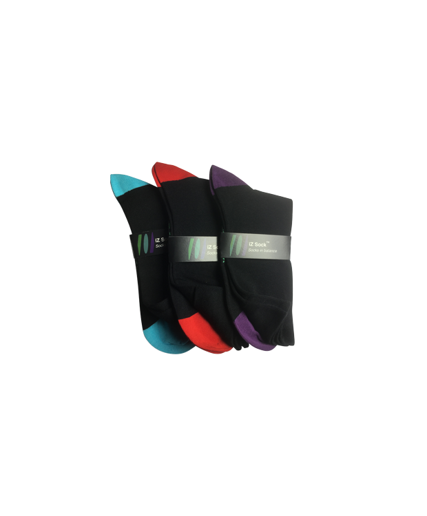 iZ Sock - 3 pak med farvet hæl og tå bambusstrømper i (sort, rød, lilla og turkis) Unisex