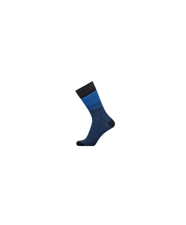 Claudio bomuldsstrømper i sort med blå striber til herre