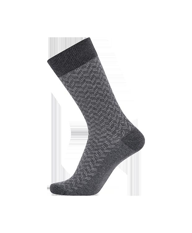 JBS bomuldsstrømpe i grå med zigzag mønster til herre