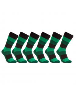 iZ Sock 6pak bambusstrømper med tykke striber i grøn