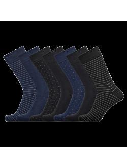 JBS 7-pak bambusstrømper i forskellige farver med mønster til herre - Gaveæske