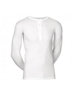 JBS langærmet bomulds t-shirt i hvid med knapper til herre