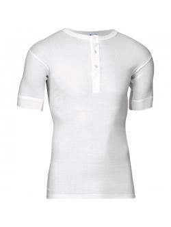 JBS halværmet bomulds t-shirt i hvid med knapper til herre