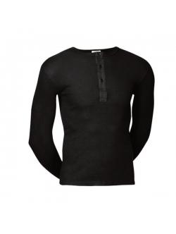 JBS langærmet bomulds t-shirt i sort med knapper til herre