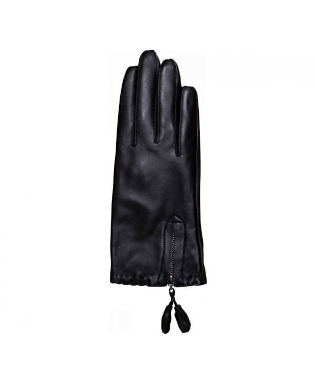 Decoy læderhandsker med lynlås til kvinder i sort