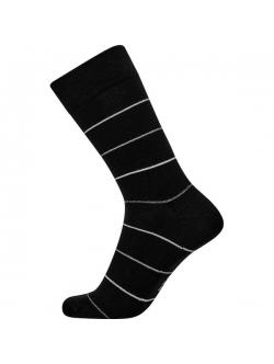 JBS bomuldsstrømper i sort med grå linjer til herre