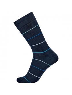 JBS bomuldsstrømpe i navy med lyse blå striber til herre
