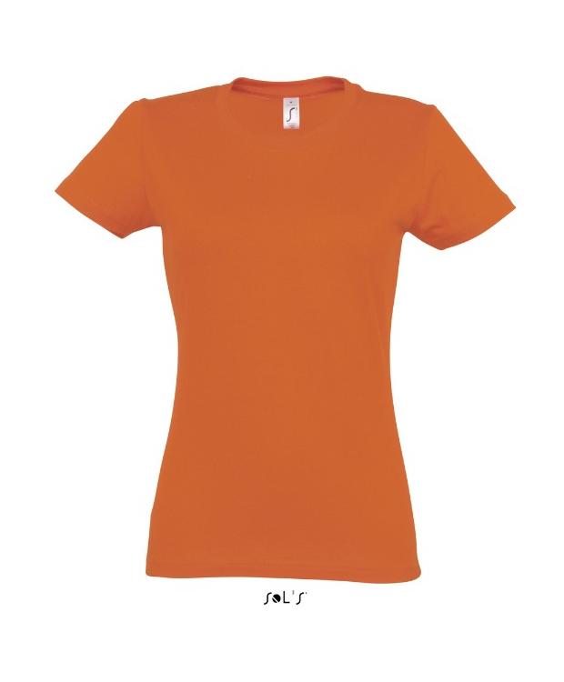 Orange faconsyet T-Shirt med rund hals til kvinder-Imperial