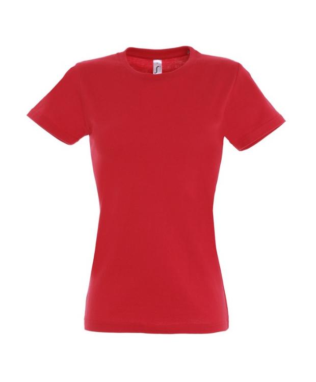Rød T-shirt til kvinder med rund hals. Faconsyet