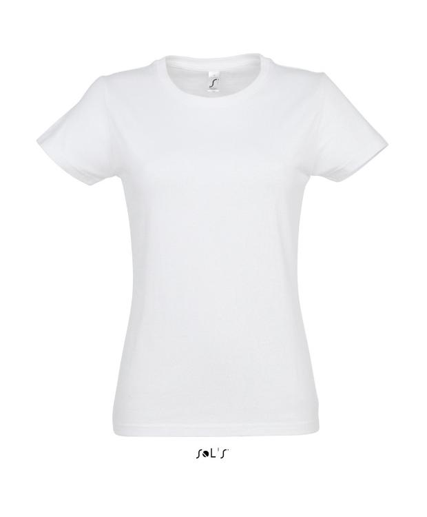 Hvid T-shirt til kvinder med rund hals, SOLS
