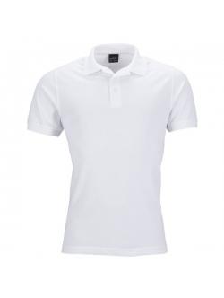 Mens Poloshirts Piqué, Elastic – Klassisk hvid