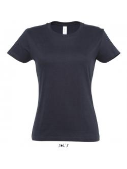 Sols faconsyet - T-shirt i Navy blå med rund hals til kvinder