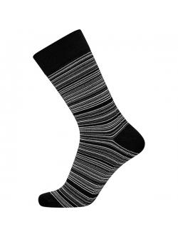 JBS bomuldsstrømpe i sort med grå/ hvide striber til herre