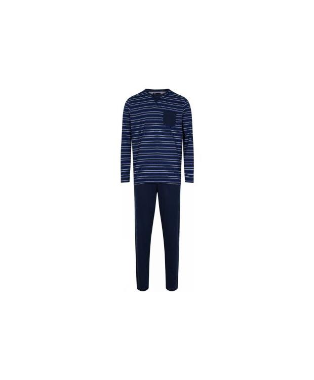 JBS pyjamas jersey i blå med hvide striber til herre