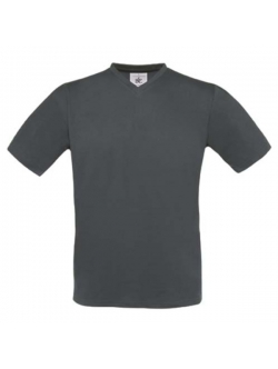 B&C Exact t-shirt med v-hals i mørkegrå til herre
