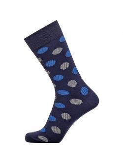 Claudio bomuldsstrømper i navy med blå og grå prikker til herre