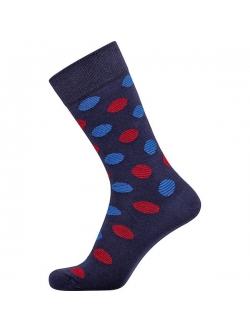 Claudio bomuldsstrømper i navy med blå og røde prikker til herre