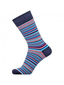 Claudio bomuldsstrømper i navy med røde, blå, navy og hvide striber til herre