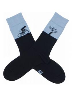 JBS bomuldsstrømpe i sort/ grå med cykel-motiv til herre