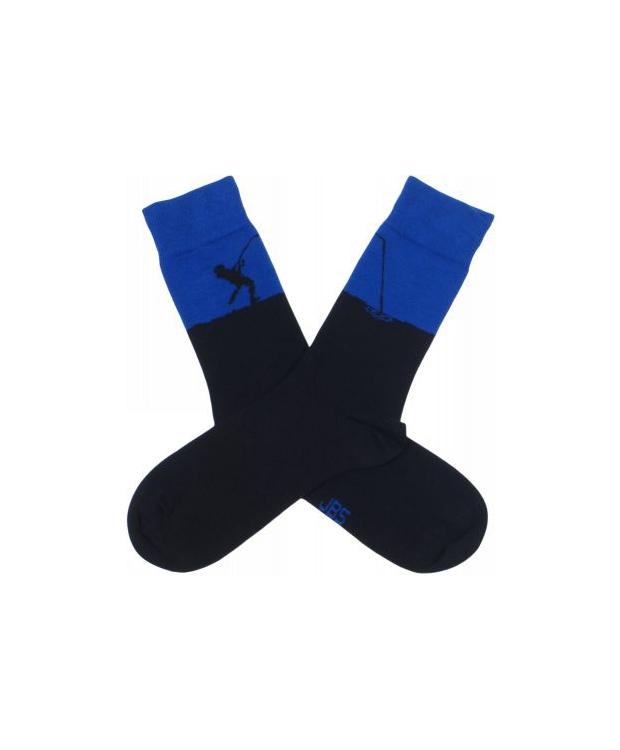 JBS bomuldsstrømpe i sort/ blå med fisker-motiv til herre
