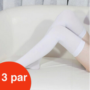 Billede af Hvide knæstrømper, 3 par i lækker kvalitet. Str. 42 cm