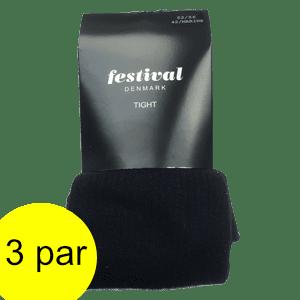 Strømpebukser bomuld, sorte. Model Stine fra Festival.