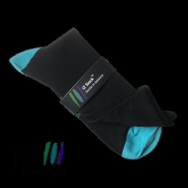 Image of   iZ sock, bambus strømper med turkis hæl og tå.