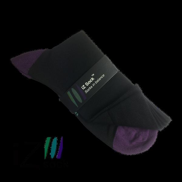 Image of   iZ sock, bambus strømper med violet hæl og tå.