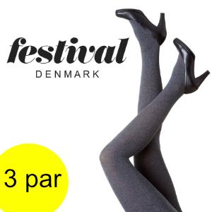 Image of   Flotte grå strømpebukser - Festival. 3 par.