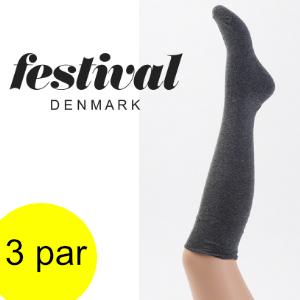 Image of Lækre knæstrømper til kvinder i blødt bomuld, Festival. 3 par.