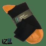 Bambus strømpe fra iZ Sock med orange hæl og tå 300 px