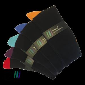 Image of   Bambus strømper med farvet hæl og tå fra iZ Sock - 5 pak. 1 i hver farve