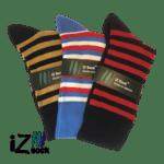 Bambus strømper med striber i friske farver. 3 Pak. - iZ-Sock.dk