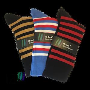Image of   3 pak iZ socks bambus, lækre stribet strømper (sort-brun, sort-rød, blå-rød-hvid, 1 af hver)