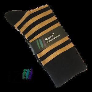 Billede af Sort og orange-stribede bambusstrømper fra iZ Sock