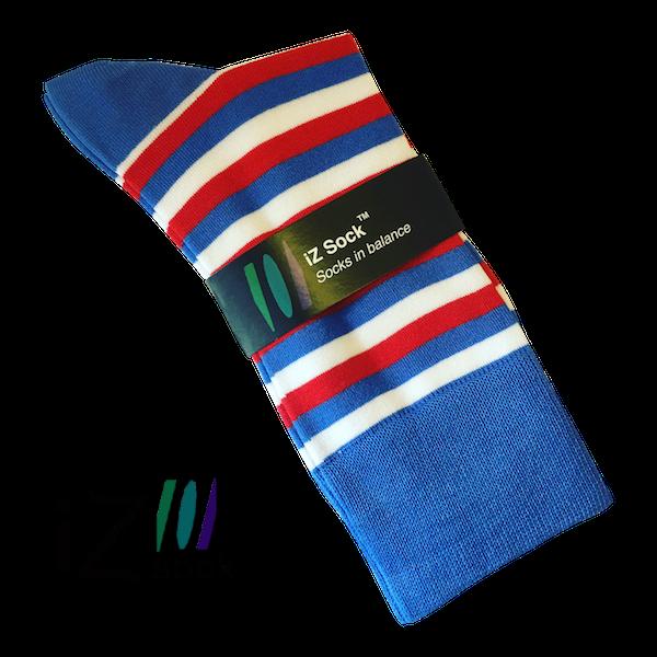 Image of   Stribede bambus strømper, friske farver - Sailor (blå, røde, hvide striber)