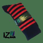 bambus strømper med røde og sorte striber - iz sock