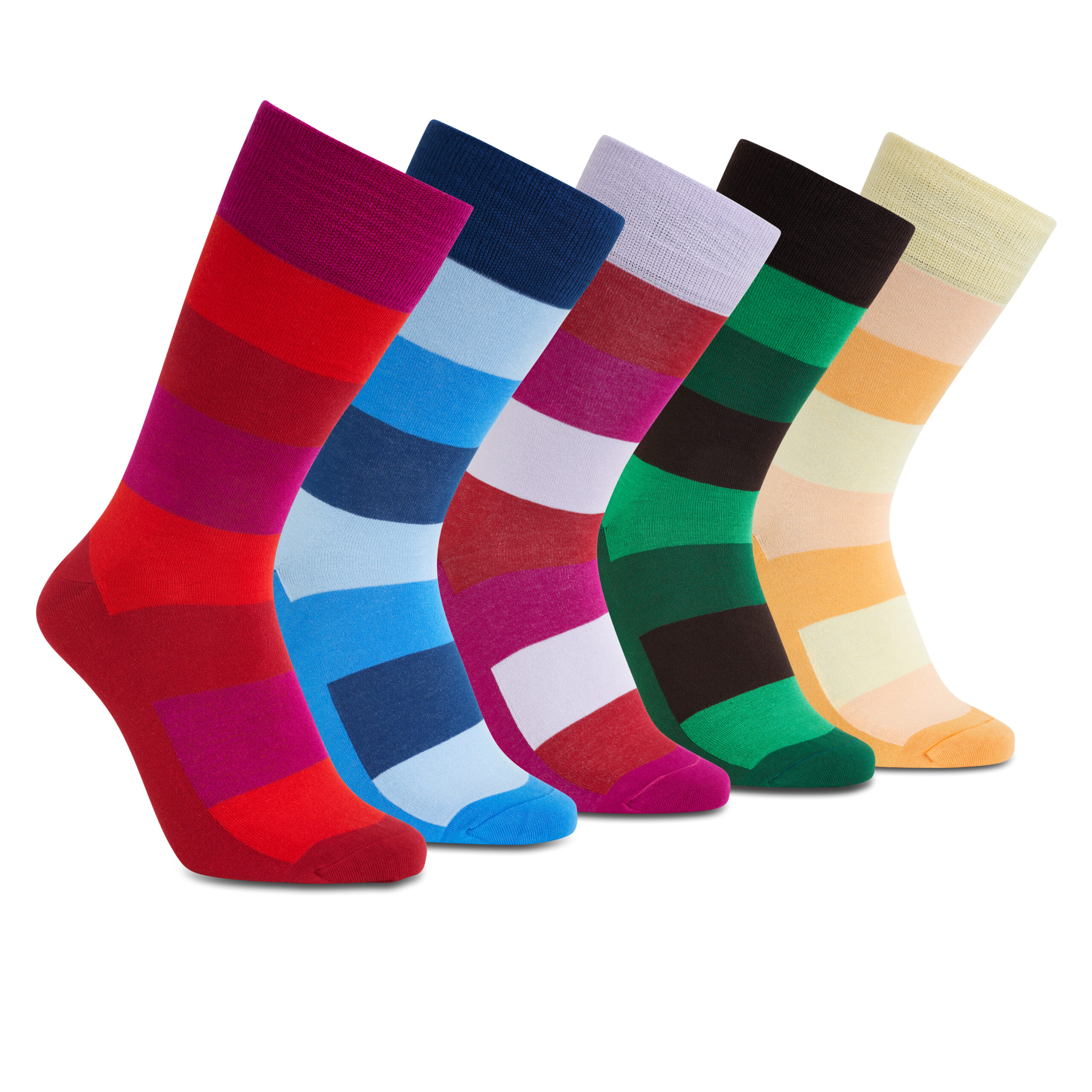 iZ Sock – 5 par Bambus strømper med brede striber-42-46